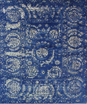 "Agra Blue Hand Knotted 7'10"" X 9'7""  Area Rug 902-112114"
