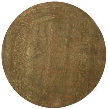 "Agra Green Round Hand Knotted 8'0"" X 8'0""  Area Rug 902-112142"