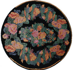 "Floral Black Round Hand Knotted 7'9"" X 7'11""  Area Rug 902-112143"