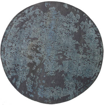 Indian Bhadohi Grey Round 7 to 8 ft Wool and Viscose Carpet 112145