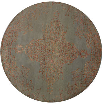 Indian Modern Beige Round 7 to 8 ft Wool and Viscose Carpet 112149