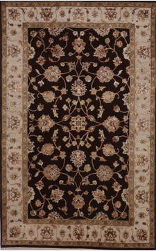 Indian Jaipur Brown Rectangle 4x6 ft wool and raised silk Carpet 112171