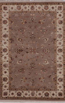 Indian Jaipur Grey Rectangle 4x6 ft wool and silk Carpet 112176
