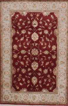 "Jaipur Red Hand Knotted 4'0"" X 6'2""  Area Rug 905-112177"