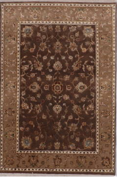 Indian Jaipur Brown Rectangle 4x6 ft wool and raised silk Carpet 112179