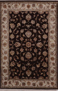 Indian Jaipur Brown Rectangle 4x6 ft wool and raised silk Carpet 112181