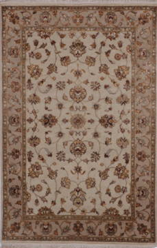 "Jaipur White Hand Knotted 4'1"" X 6'2""  Area Rug 905-112185"