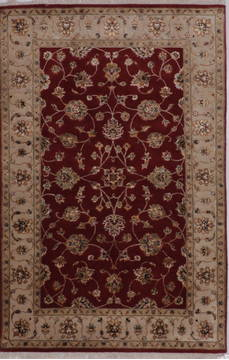 Indian Jaipur Red Rectangle 4x6 ft wool and raised silk Carpet 112187