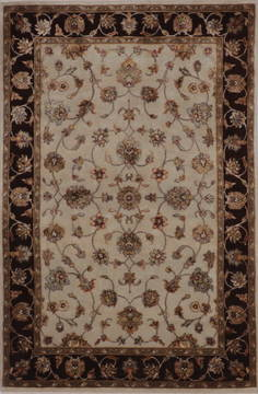 Indian Jaipur White Rectangle 4x6 ft wool and raised silk Carpet 112188