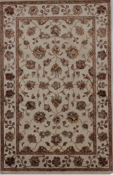 "Jaipur Beige Hand Knotted 4'0"" X 6'2""  Area Rug 905-112189"
