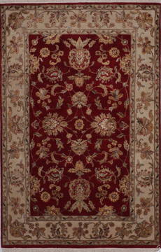 "Jaipur Red Hand Knotted 4'0"" X 6'1""  Area Rug 905-112190"