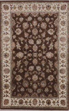 Indian Jaipur Brown Rectangle 4x6 ft wool and raised silk Carpet 112194