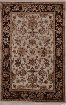 Indian Jaipur White Rectangle 4x6 ft wool and raised silk Carpet 112195