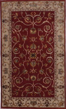"Jaipur Red Hand Knotted 3'0"" X 5'1""  Area Rug 905-112207"