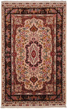 "Tabriz Beige Hand Knotted 6'11"" X 10'4""  Area Rug 254-112237"