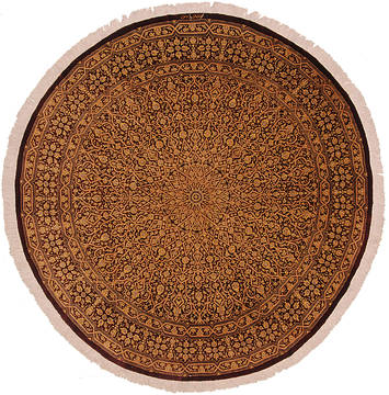 "Qum Yellow Round Hand Knotted 6'6"" X 6'6""  Area Rug 254-112241"
