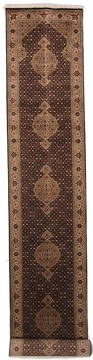 "Mahi Black Runner Hand Knotted 3'3"" X 16'3""  Area Rug 254-112243"