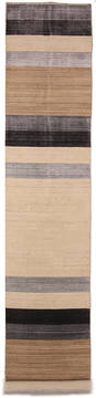 "Gabbeh Beige Runner Hand Knotted 2'7"" X 13'7""  Area Rug 254-112249"