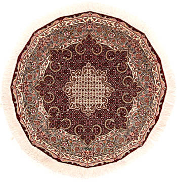 Persian Mahi Red Round 4 ft and Smaller Wool and Silk Carpet 112255