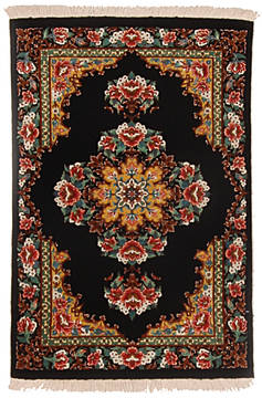 "Qum Black Hand Knotted 2'0"" X 3'0""  Area Rug 254-112256"