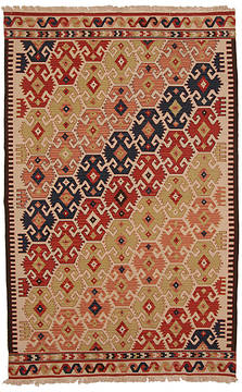 "Kilim Multicolor Hand Knotted 5'2"" X 8'2""  Area Rug 254-112257"