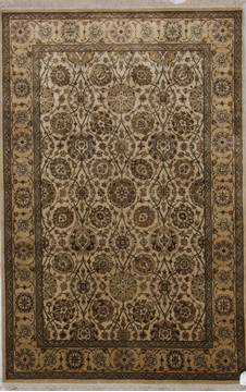 "Jaipur Beige Hand Knotted 4'1"" X 6'0""  Area Rug 905-112267"