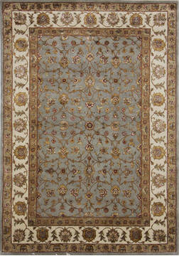 Indian Jaipur Blue Rectangle 5x7 ft Wool and Raised Silk Carpet 112303
