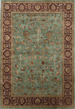 "Jaipur Green Hand Knotted 4'10"" X 7'1""  Area Rug 905-112321"