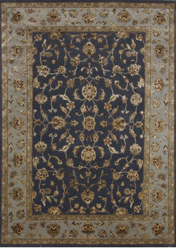 Indian Jaipur Blue Rectangle 5x7 ft Wool and Raised Silk Carpet 112339