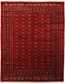Pakistani Bokhara Red Rectangle 9x12 ft Wool Carpet 112369