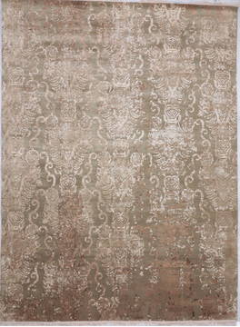"Modern Green Hand Knotted 9'0"" X 12'1""  Area Rug 905-112408"