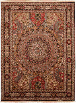 Persian Tabriz Multicolor Rectangle 10x13 ft Wool and Silk Carpet 112416