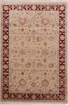 Indian Jaipur Beige Rectangle 4x6 ft Wool and Raised Silk Carpet 112429