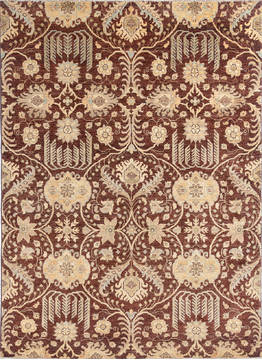 Afghan Chobi Brown Rectangle 5x7 ft Wool Carpet 112441