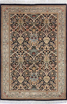 Pakistani Pak-Persian Black Rectangle 4x6 ft Wool Carpet 112468