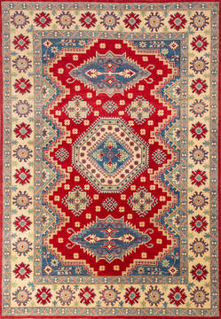 Afghan Kazak Red Rectangle 7x10 ft Wool Carpet 112474
