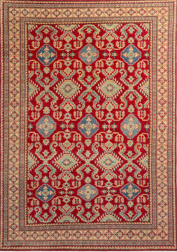 Afghan Kazak Red Rectangle 7x10 ft Wool Carpet 112475