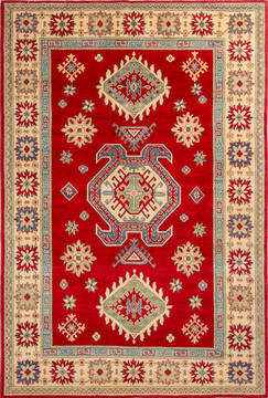 Afghan Kazak Red Rectangle 7x10 ft Wool Carpet 112481