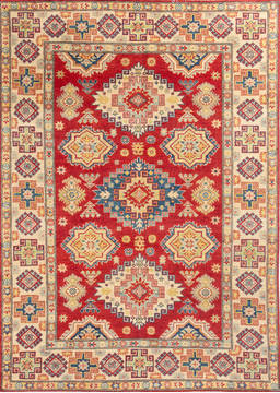 "Kazak Red Hand Knotted 5'7"" X 7'10""  Area Rug 700-112483"