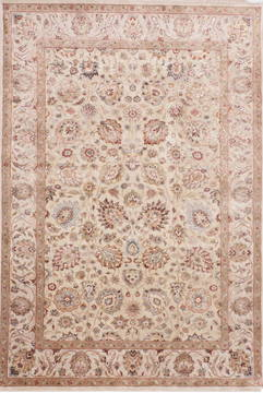 Indian Jaipur Beige Rectangle 6x9 ft Wool and Raised Silk Carpet 112487