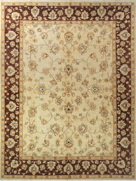 Afghan Chobi Beige Rectangle 9x12 ft Wool Carpet 112524