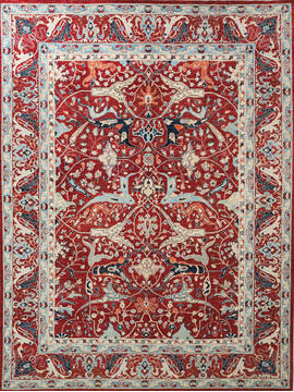 Afghan Chobi Red Rectangle 9x12 ft Wool Carpet 112526