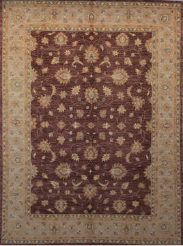Afghan Chobi Brown Rectangle 9x12 ft Wool Carpet 112531