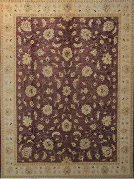 Afghan Chobi Brown Rectangle 9x12 ft Wool Carpet 112532