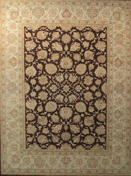 Afghan Chobi Brown Rectangle 9x12 ft Wool Carpet 112533