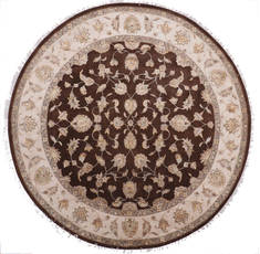 "Jaipur Brown Round Hand Knotted 10'1"" X 10'2""  Area Rug 905-112547"