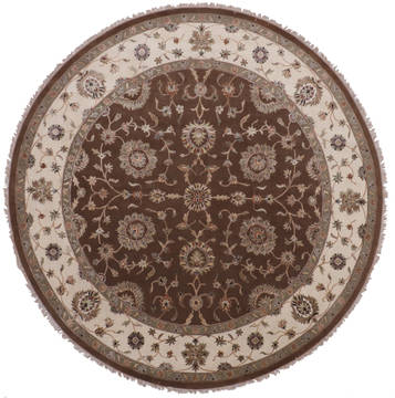 "Jaipur Brown Round Hand Knotted 9'11"" X 10'2""  Area Rug 905-112549"