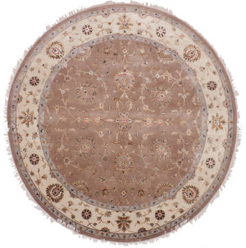 "Jaipur Brown Round Hand Knotted 8'8"" X 8'11""  Area Rug 905-112558"