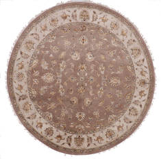 "Jaipur Brown Round Hand Knotted 8'11"" X 9'2""  Area Rug 905-112560"