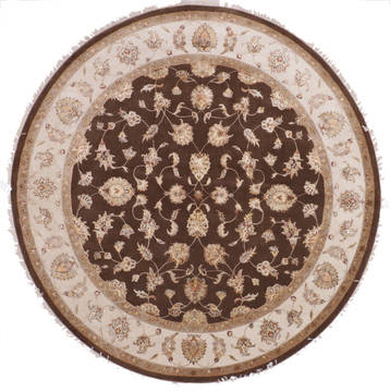 "Jaipur Brown Round Hand Knotted 9'1"" X 9'2""  Area Rug 905-112563"